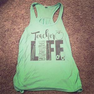 Teacher Life Ribbed Racerback Tank Medium M